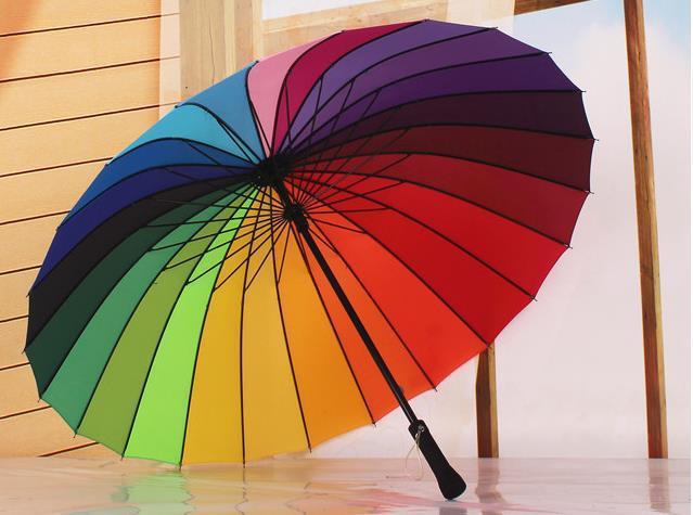Зонтик 2015 Мода 24 К Радуга Umbrella неавтоматические Лонг-ручка Взрослых Зонты Принцесса Зонты Guarda Chuva Paraguas