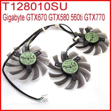 3pcs/lot EVERFLOW T128010SU 75mm 4Pin 40mm VGA Video Card Fan For Gigabyte GTX670 GTX580 560ti GTX770 Cooling Fan