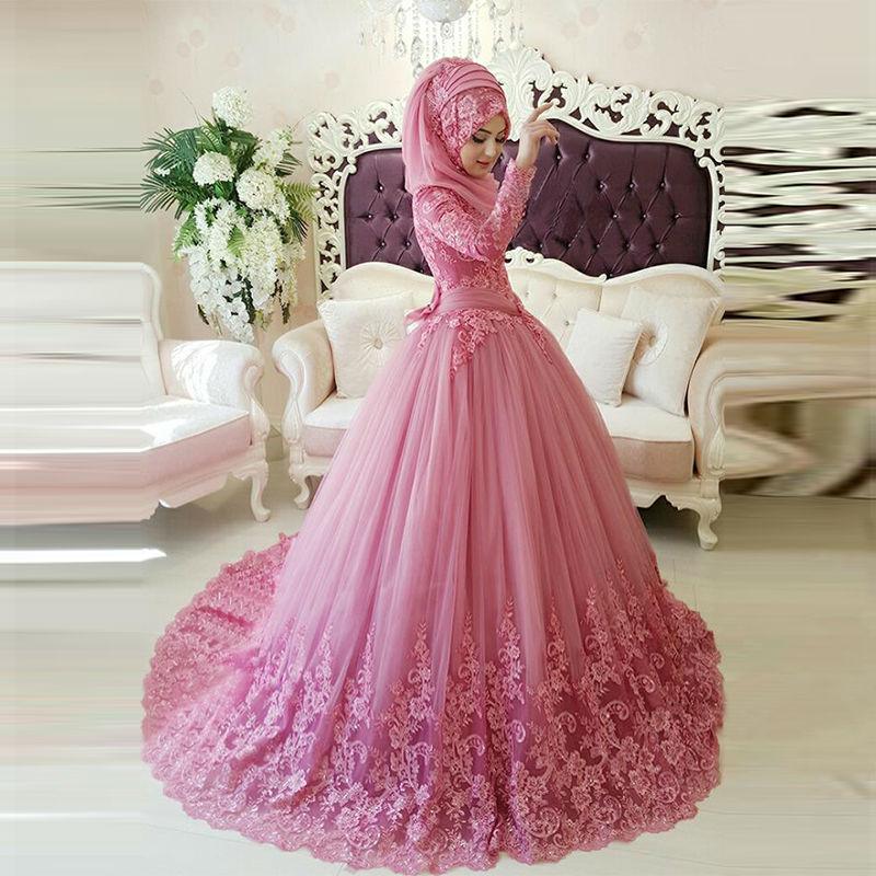 Muslim Wedding Gown Photos: Muslim Wedding Dress With Hijab 2016 Arabic Lace Appliqued