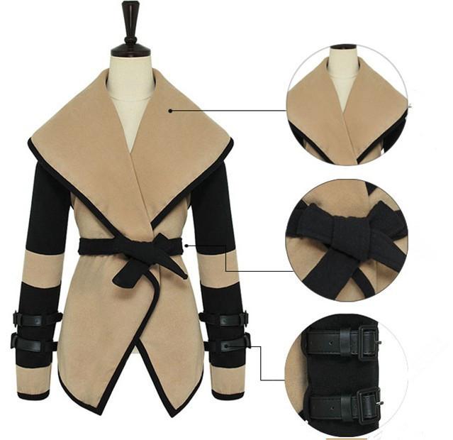 Женщины британский стиль осень виктория персонализированные большие лацкане мыса шерсть пальто женщины верхняя одежда куртка