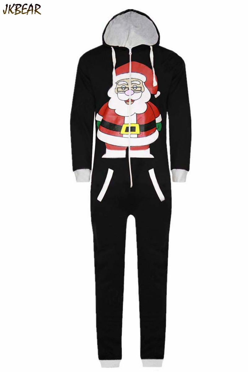 ff065bbb7f ... Lovely Santa Claus Pattened Matching Christmas Pajamas for Couples Plus  Size Polar Fleeced Hooded Onesie S ...