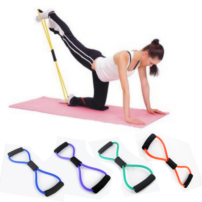 Popular Yoga Strape Props 8 Shape Elastic Rope Exercise Tool Pilates Women  Pull On 9b72eae5a