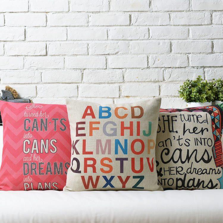 Free Shipping Nodic Colorful Words Linen Fabric Throw Pillow Hot Sale New Home Fashion Christmas Decor 45cm Bar Sofa Car Cushion