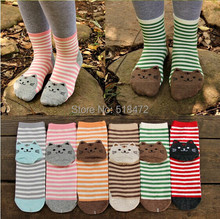 Hot!! 3D animals style striped fashion cartoon socks women 3D cat footprints Cute Cotton Socks floor meias socks