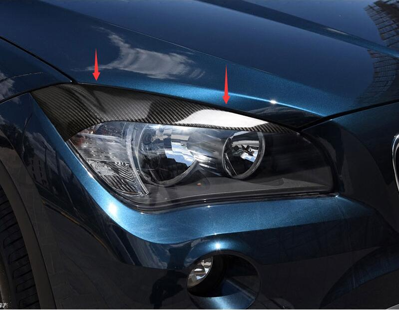 For E84 BMW X1 2010-2015 Car styling Carbon Fiber Head Light Lamp Eyebrow  Eyelid Cover 84c1ad2a5a16