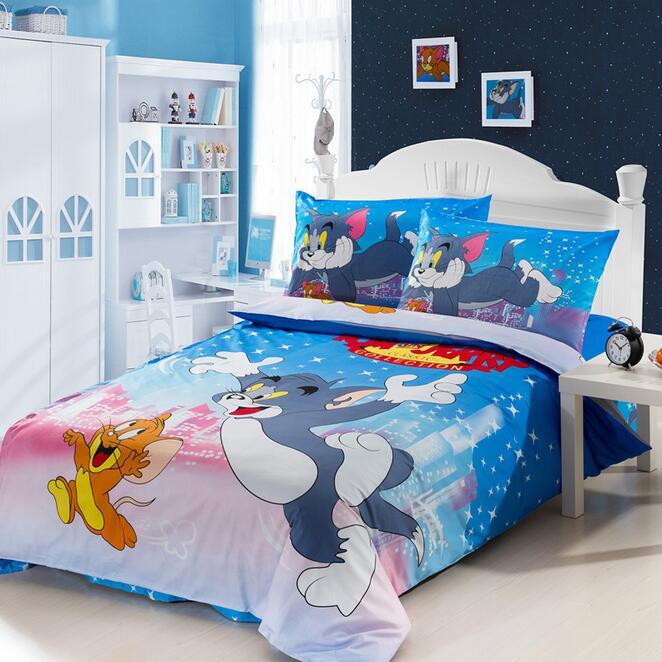 Copripiumino Tom E Jerry.Tom E Jerry Bedding Set 100 Coon Copripiumino Letto Singolo Lenzuola Federa Cartoon Mouse Cat Stampa Bambini Bedroom Set 3 Pezzi