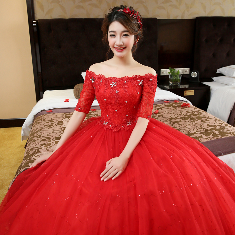 Wedding Gowns Online Cheap: High Quality Lace Cheap Red Color Wedding Dresses Flowers