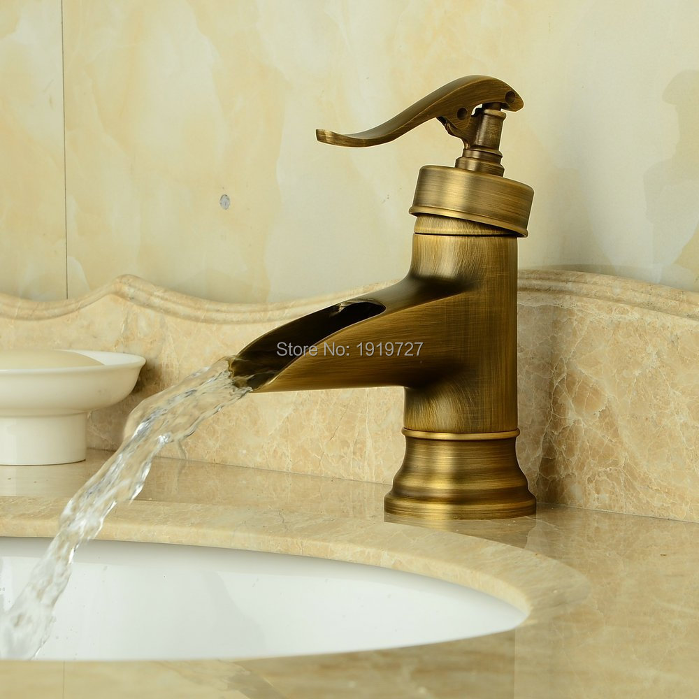Rustic Looking Bathroom Faucets: Antique Brass Finish Deck Mount Basin Mixer Taps Centerset