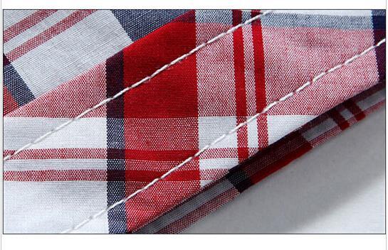 Двойной вкладыш шотландка короткая рукавами рубашки мужчины свободного покроя приталенный Fit рубашки для мужчины проверено рубашка костюмы для мужчины