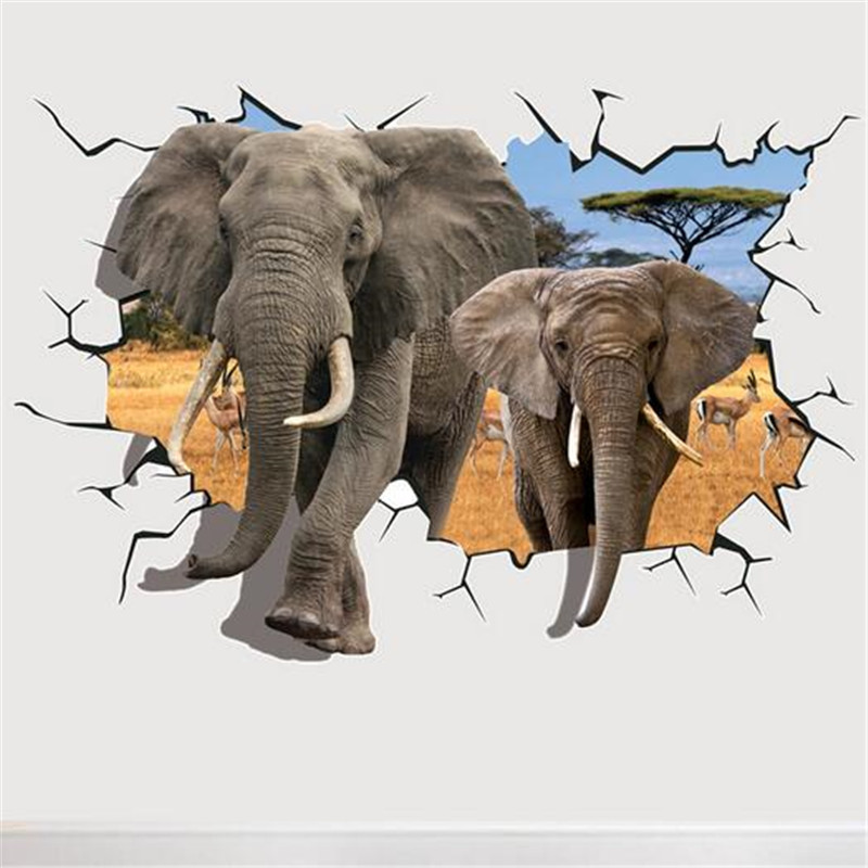 3D 10 Hot Selling Delicate African Animal Removable PVC Dual Elephant Wall Sticker Home Kid Room Art Decal Mural Decor 70*100cm