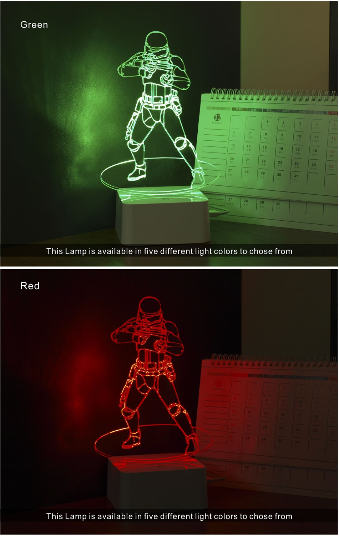 Luz de Noche Led for Star War Fans Imperial Stormtrooper 3D Lamp as Home Decor Bedroom USB Nightlight  (4)