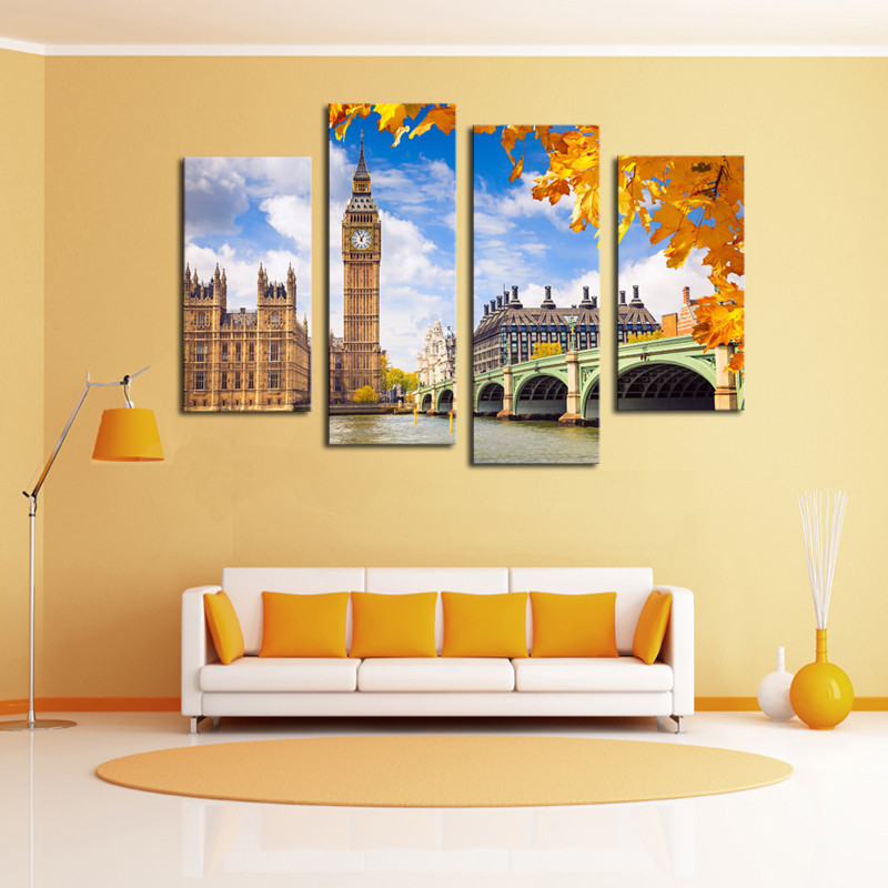 buy framed art 4 pcs classical building landscape wall art picture home. Black Bedroom Furniture Sets. Home Design Ideas