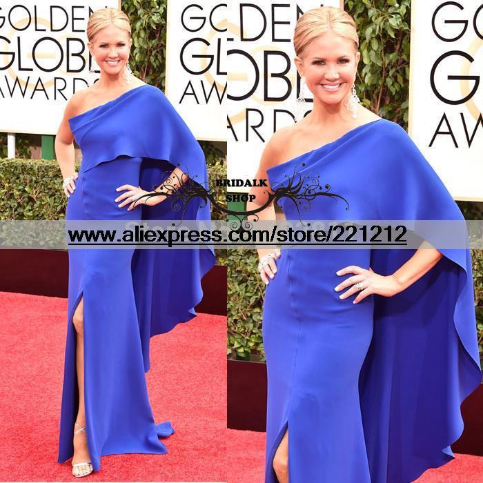 2015 72nd Golden Globe Nancy O'Dell Celebrity Dresses A Line One Shoulder Split Side With Shawl Ruffle Royal Blue Evening Dress