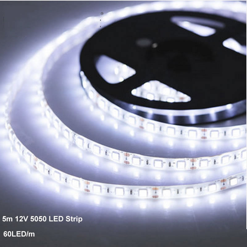 Cool White 5M Waterproof 5050 SMD  LED Strip  5M 300 Leds 60LED/M Green Blue Red Yellow Warm White