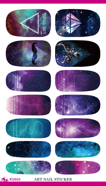 K5653 Water Transfer Foil Nails Art Sticker Mystery Galaxies Design Manicure Decor Decals Fashion Nail Wraps