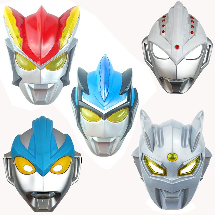 2019 Hot Sale 15 Cm 23 Cm Pvc Ultraman Rosso Blu Ginga Nol Anak Anak Bercahaya Masker Mainan Ulang Tahun Hadiah Liburan Alat Peraga Cosplay