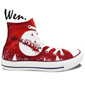 Wen Design Custom Red Hand Painted Shoes Christmas Tree Santa Ride Women Men High Top Canvas