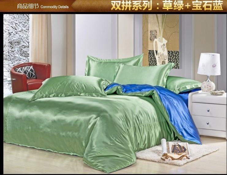 Green Blue Silk Satin Bedding Comforter Set Sets King