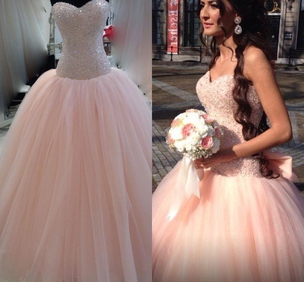 Modest Colored Peach Wedding Dress Vestido De Noiva 2015
