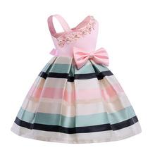 ad4ed6176b9 2018 neue Mädchen Prinzessin Kleid Sommer Gestreiften Rosa Kleider für Baby  Geburtstag hochzeit Festival Party Kleider