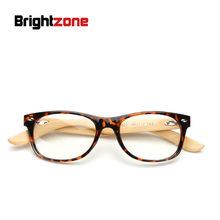 Brightzone Новый ручной работы из натурального бамбука прозрачный компьютер Ретро прозрачные очки деревянные ноги заклепки черная рамка женски...(Китай)