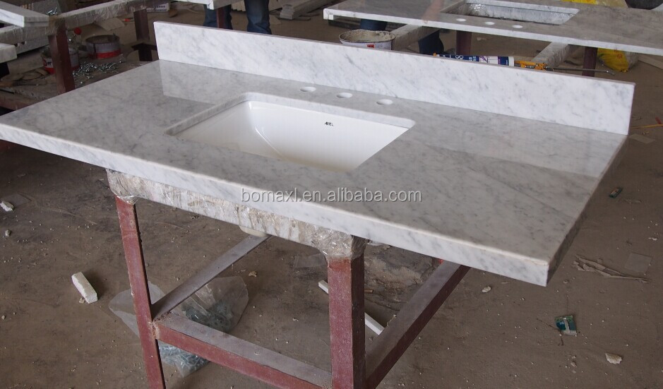 Miter Cut Carrara White Marble With Pre Attached Sink Amp Spashes Buy Carrara White Marble