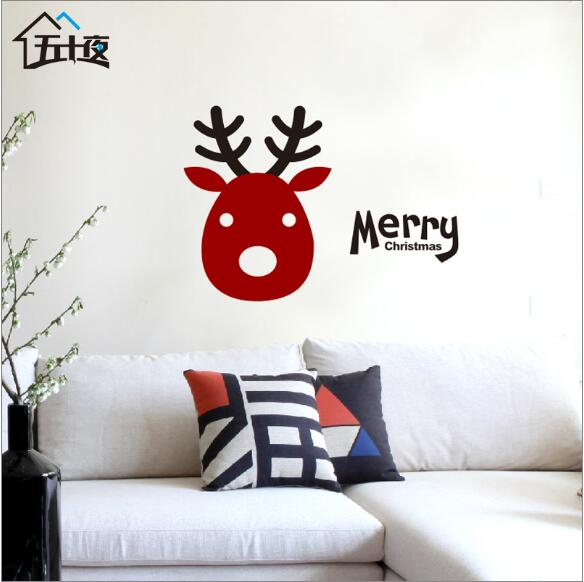 wall sticker home decor stickers  decor  adesivo de parede 3d wall for kids rooms mirror  stickers animaux Warm fawn Christmas