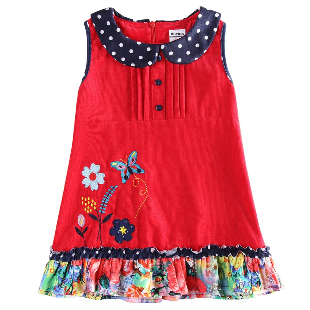 Girls dress winter flowers dresses for girls children embroidery clothing sleeveless 100 cotton princess girls clothes