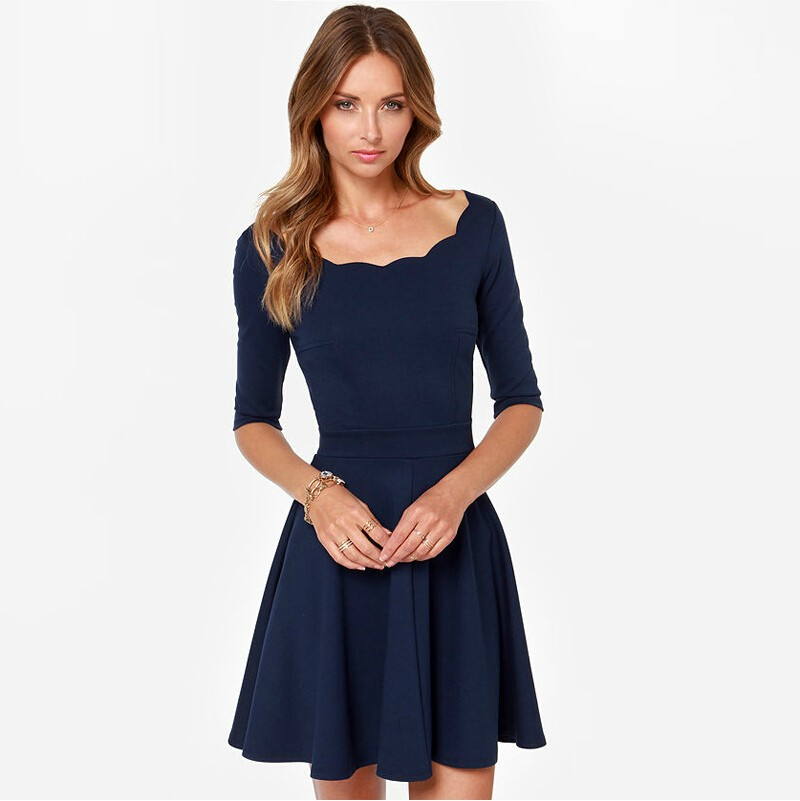 Women Dress Slim Flared Tunic Corrugated Neckline Dress Women Brand Sexy  Casual Spring Autumn Party Dresses for women - us637 e301057c8d3a