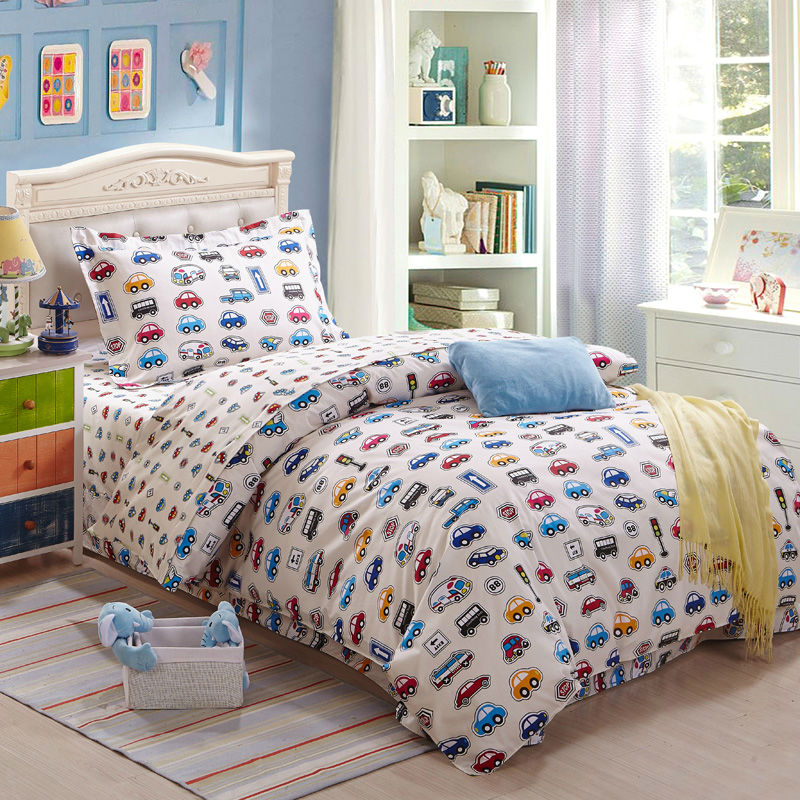 Bedding Set Printed Cars Kids Cartoon 100 Cotton Duvet Cover Bedsheet Pillowcase For Twin Size Single Bed Quilt Boys From