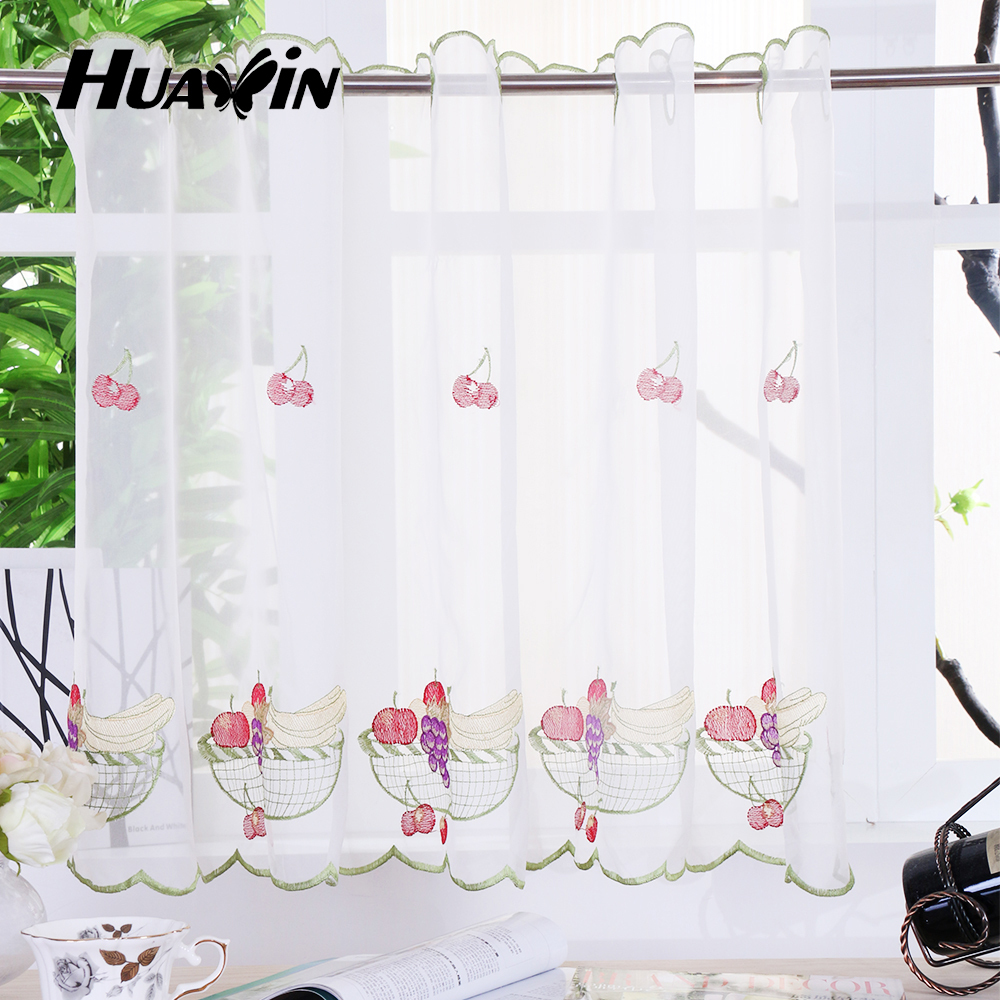 Fruit design embroidery voile kitchen cafe curtains buy - Kitchen curtains with fruit design ...