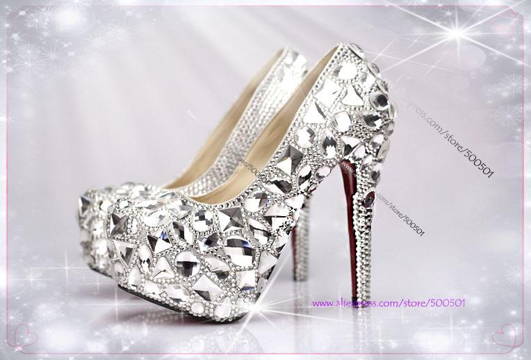 womens shoes size 11 Handmade Silver High Heel Pumps wide ...