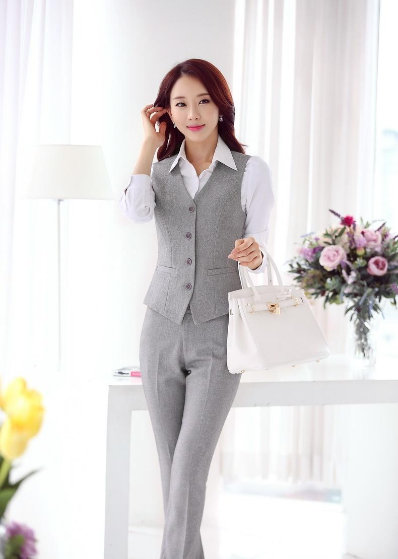 Формальные брючный костюм для женщин деловых костюмах брюки и жилетки устанавливает офис едином стиле брючные костюмы