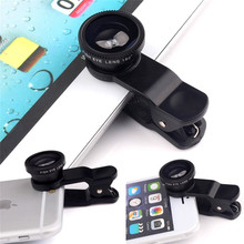 For Apple iPhone 4 4S 5 5S 5C i5 i6 iPhone6 6S Plus Lens Fisheye Macro Wide Angle 3 in 1 Universal Clip Phone Camera Lenses