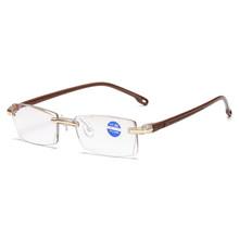 Сверхлегкие мужские очки для чтения без оправы, прозрачные линзы, анти-Blu-Ray компьютерные очки, очки для чтения Пресбиопии(Китай)