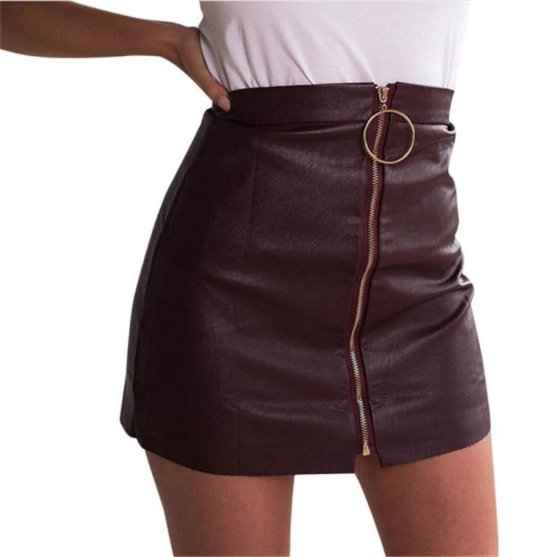 fc0b3c406 2019 2017 Vogue Women Summer Zipper Leather Skirt High Waist Punk ...