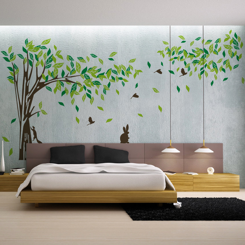 Large wall decal tree removable green wall decor living - Removable wall stickers living room ...