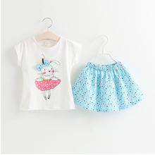 Grils Fashion Clothing Sets Brand Summer Style Cartoon girls clothing short sleeve T shirt dress Kids
