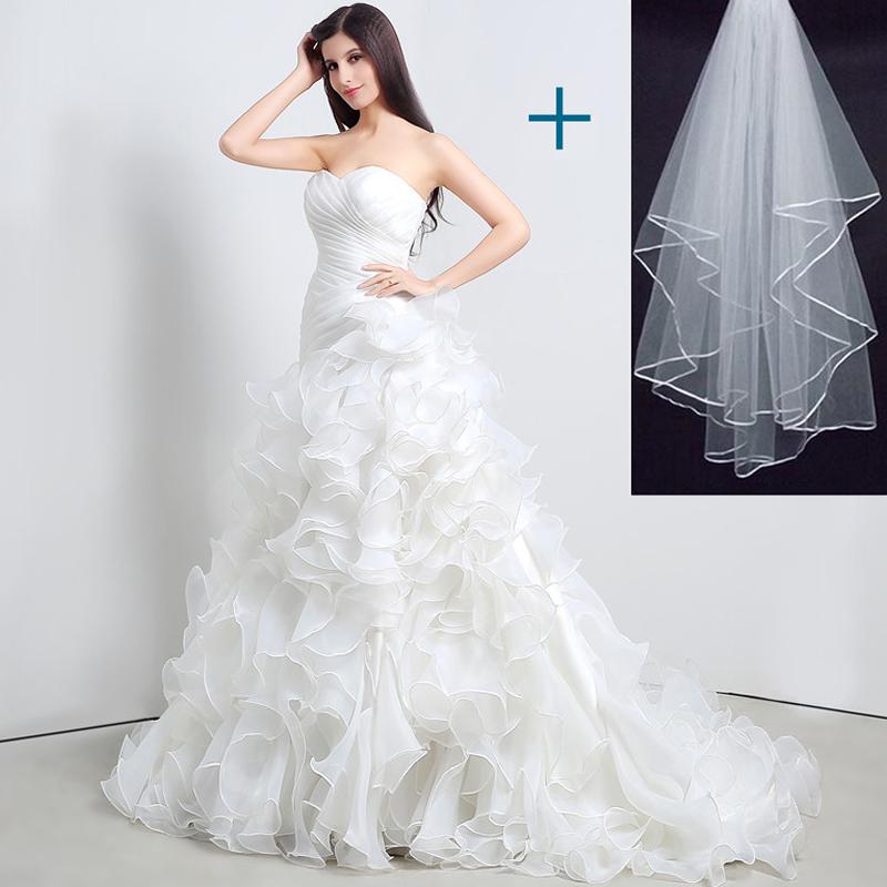 Cheap Mermaid Wedding Gowns: Stock Mermaid Wedding Dresses Sweetheart Cascading Ruffles