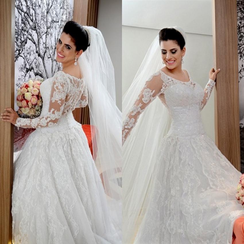 Sequin Wedding Dress: Long Sleeve Lace Muslim Wedding Dresses Sequin Bridal
