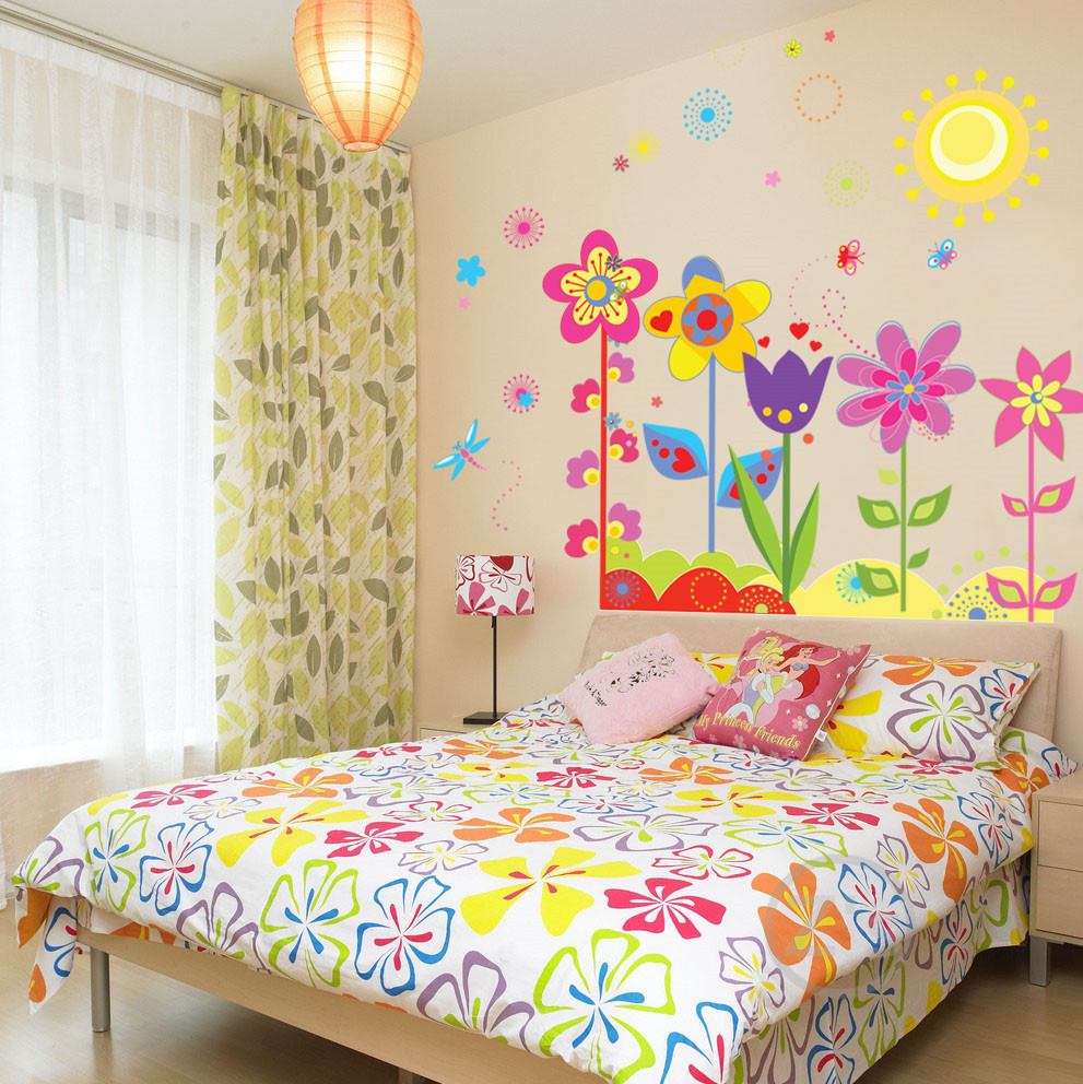 AW Flowers Wall Stickers Home Decor Kids Room Home Decor