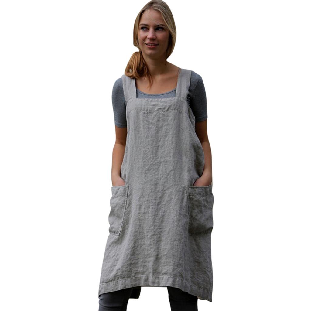 a204981b13 feitong Women Cotton Linen Pinafore Square Cross Apron Garden Work Pinafore  Dress Waist A Line Chic Dress Ladies Tie Neck #w30