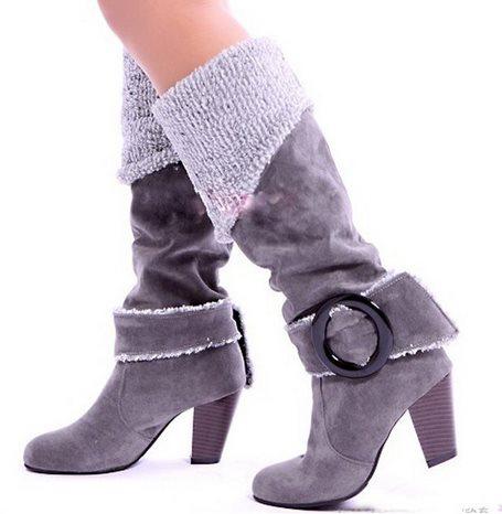 243c64ec2ca0 Большой размер 34 - 43 зимние ботинки снега для женщин на высоких каблуках  пряжки круглый носок платформы меховые ботинки долго сапоги