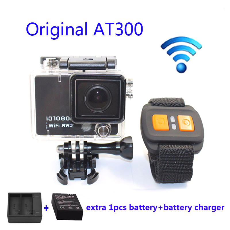 Free shipping!! Original AT300 WiFi 4K 10fps with Remote Control Helmet Action Camera +Extra 1pcs battery+Dual Battery Charger