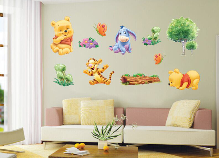 hot sell details about winnie the pooh wall sticker nursery baby room decor removable vinyl. Black Bedroom Furniture Sets. Home Design Ideas