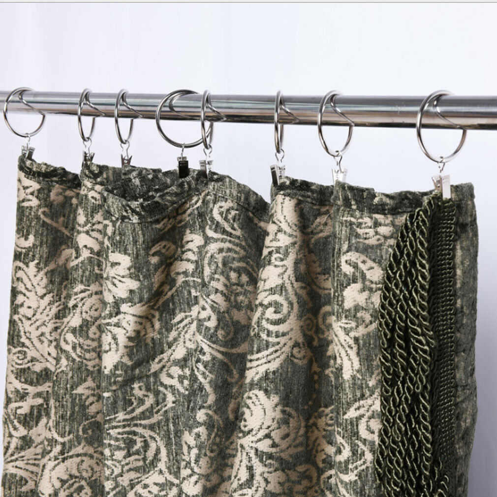 10 Pcs Curtain Rings Strong Metal Window Rod Pole Voile Net