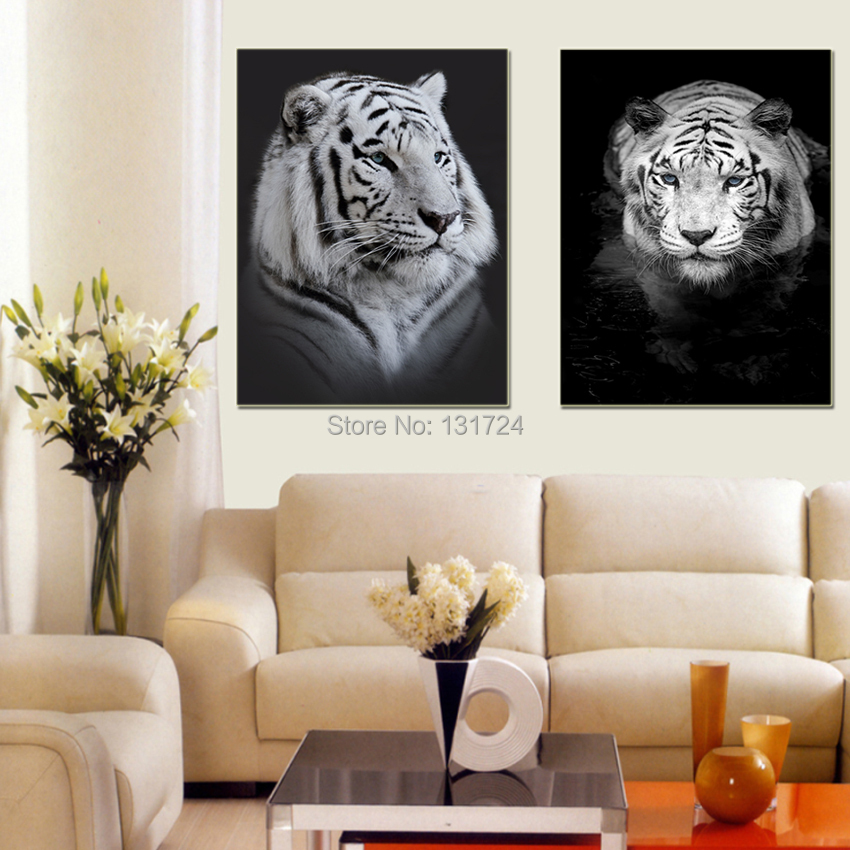 Unframed 2 Pcs White Tiger Lovely Animal Canvas Painting Pictures Prints Cool Home Decoration for Room Wall Modern Fashion Gifts
