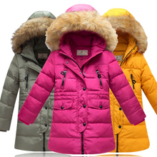 Girl 100 down winter jackets Kids long model extra thick warm Children s winter clothing Outerwear
