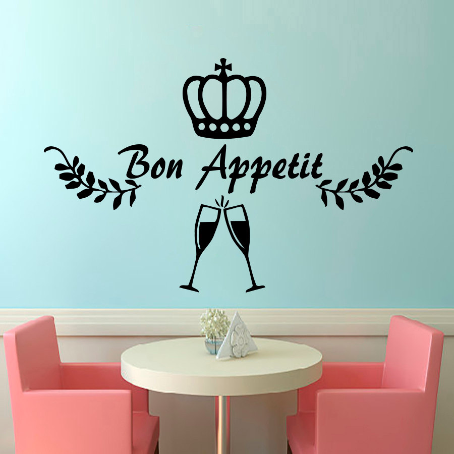 Crown Wine Glasses Wall Decals French Bon Appetit DIY Home Decor Wall Sticker Removable For Restaurant