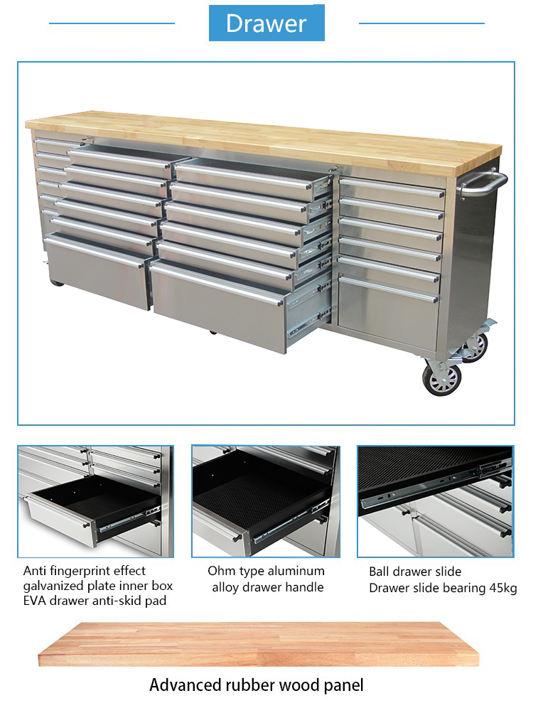 Heavy Duty Stainless Steel Workbench Tool Chest 96 Inch